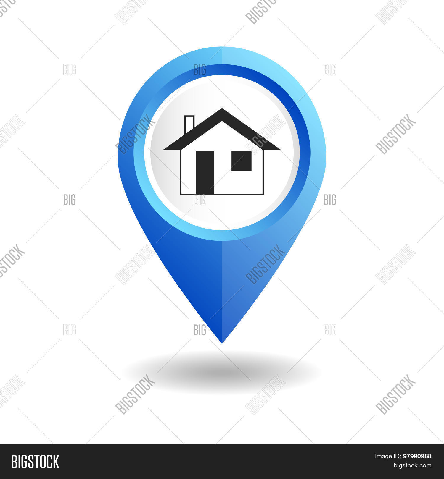 Blue Map Pointer Home Vector Photo