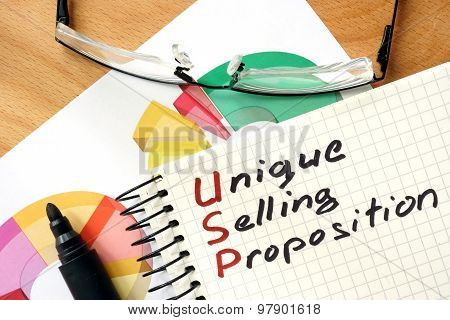Words Unique Selling Proposition USP on the notepad.