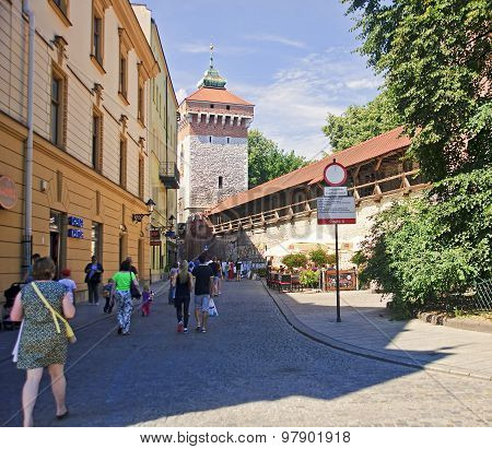 Krakow, Poland - August 1, 2015: Saint Florian S Gate On 1 Augus