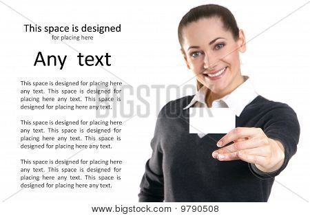 Businesswoman holding a visit card