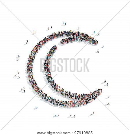 people in the shape of  Muslim crescent, religion