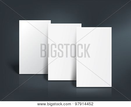 Three business cards mockup. Vector illustration