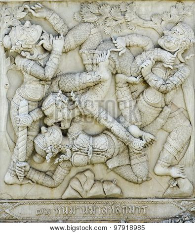 masterpiece of traditional Thai style stucco art old about Ramayana story on temple decorative wall at Wat Panan Choeng temple Ayutthaya Thailand. World Heritage Site poster