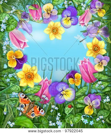 Among The Flowers. Floral Card. Daylight Meadow.