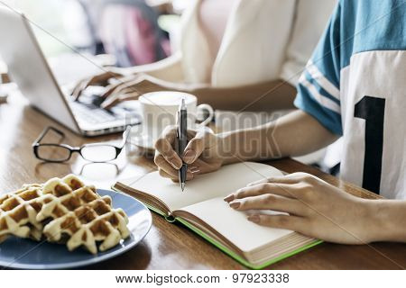author in a cafe