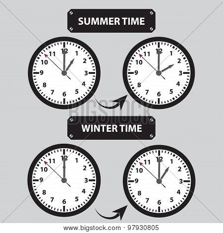 summer and winter time shifting icons eps10 poster