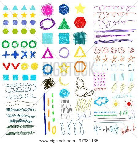 Hand-drawing Doodle Funny Shapes Childish Set. Abstract Geometric Handmade Collection