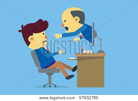 Boss reprimanding subordinate with online communication