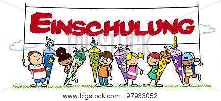 Children celebrating first day of school with banner in German saying