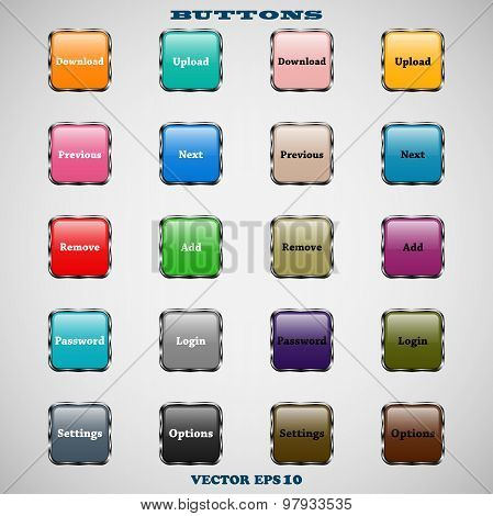set of glass square colorful web buttons with glossy reflections for website or app