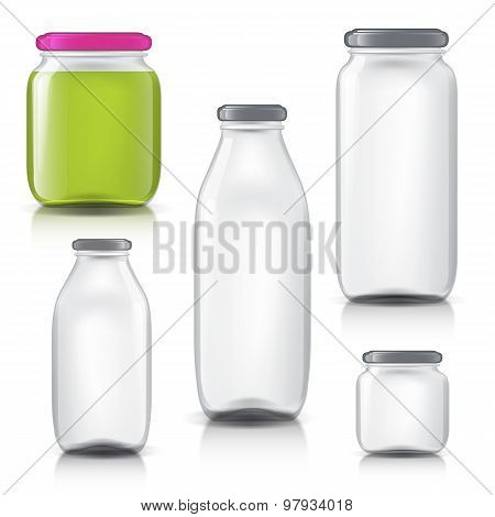 Glass bottles empty transparent set. Template of glass jars. Bank juice, jam, liquids