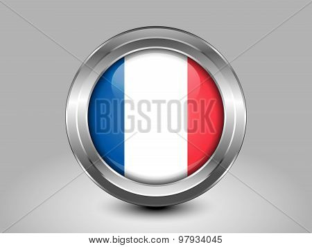 Flag Of France With Incorrect Proportions. Metal Round Icon