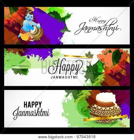 Illustration of banner and header set for Happy Janmashtami. poster