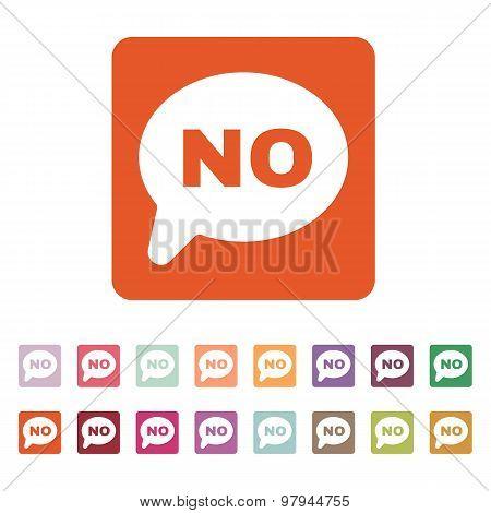 The NO speech bubble icon. Social network and web communicate symbol. Flat
