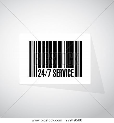 24-7 Service Barcode Sign Concept