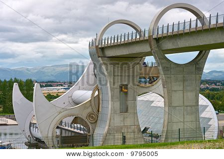 Falkirk Wheel the world's first rotating boatlift Scotland UK Europe poster