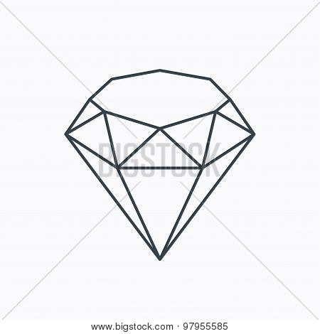 Brilliant icon. Diamond gemstone sign. Linear outline icon on white background. Vector poster