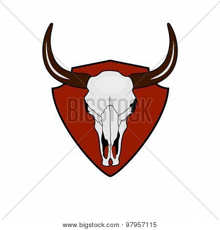 Cow Skull. Wild West vintage Label