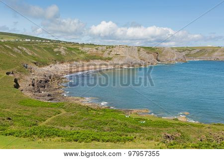 Fall Bay The Gower peninsula South Wales UK near to Rhossili beach and Mewslade Bay on Wales coast path poster