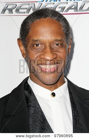 LOS ANGELES, CA - AUGUST 1: Tim Russ arrives at the premiere of Star Trek: Renegades at the Crest Theatre on August 1, 2015 in Los Angeles, CA.