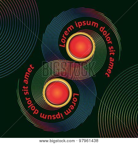 Colorful Vector Design Of Twirl Elements With Space For Text