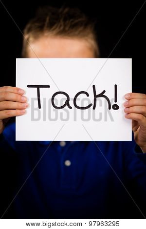 Child Holding Sign With Swedish Word Tack - Thank You