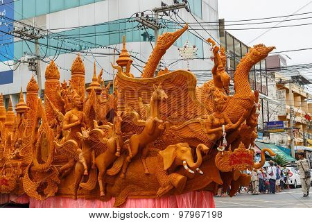 NAKHON RATCHASIMA, THAILAND - JULY 31 : The traditional candle procession festival of Buddha on July 31, 2015 in Nakhon Ratchasima, thailand.