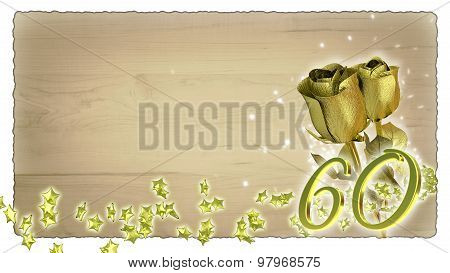 birthday concept with golden roses and star particles - 60th