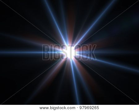 Design Template - Blue Star, Sun With Lens Flare. Rays Background.