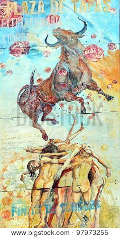 Street art bull fight
