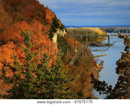 River Bluffs along the Missouri River in the Evening