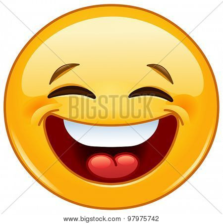Yellow ball laughing with closed eyes