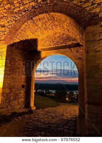 Small gate in Kalemegdan fortress walls at twilight, Belgrade