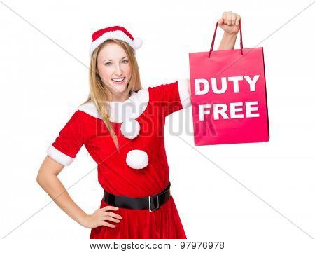Christmas party dressing girl with shopping bag showing duty free