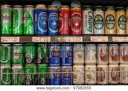 Selection Beer In Supermarket Siam Paragon In Bangkok, Thailand.