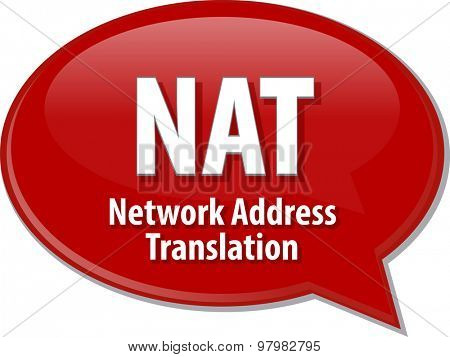 Speech bubble illustration of information technology acronym abbreviation term definition NAT Network Address Translation