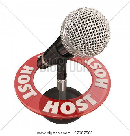 Host word around microphone as a presenter in a discussion, interview show, radio program or podcast