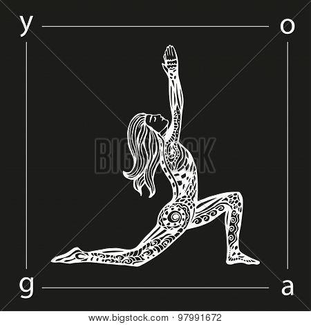 Vector yoga illustration in zentangle style.