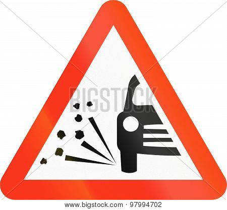 Bangladeshi traffic sign: Loose Chippings on the road poster