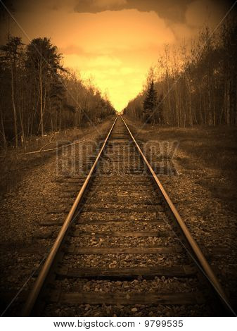 An edidted photo of some train tracks poster