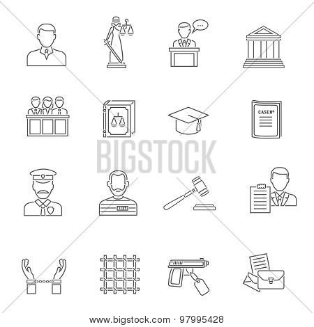 Justice Outline Icon Set