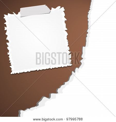 Torn crumpled white paper with adhesive, sticky tape on brown background