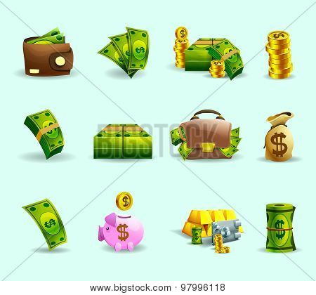 Cash payment flat icons set