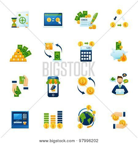 Remote foreign currency paying and exchange with internet computer banking system flat icons set abstract vector illustration poster