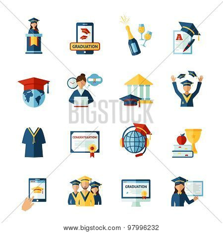 School graduation flat icons set
