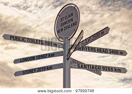 Sign Post of St. Clair, Dunedin, New Zealand