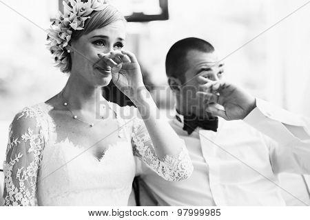 Beautiful Gorgeous Blonde Bride And Stylish Groom Crying, Celebrating Wedding On The Restaurant