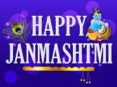 illustration of a stylish text for Happy Janmashtami. poster