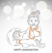 illustration of a Baby Krishna for Happy Janmashtmi. poster