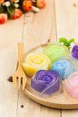 Colorful of thai jelly dessert roses shaped Thai sweet dessert. poster
